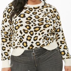 Forever 21    Plus Leopard Print Cropped Sweater